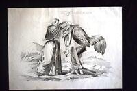 Incisione d'allegoria e satira Adolphe Niel, Pio IX, Gaeta Don Pirlone 1851
