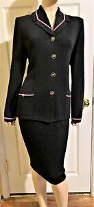 Nice St John Santana Knit Black & Pink Executive Skirt & Jacket Suit  size 12