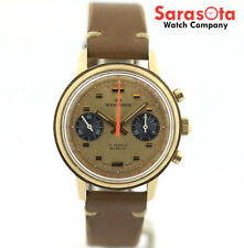 Vintage Wakmann 1376 Chronograph 17 Jewels Brown Leather Hand Winding Mens Watch