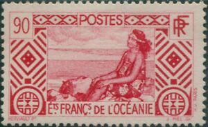 French Oceania 1934 SG105 90c red Tahitian Girl MNH
