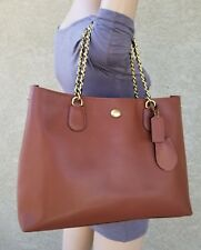 COACH PEYTON CHAIN brown leather BAG SATCHEL TOTE shoulder purse 31752 $428