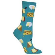 Gourmet Cheese Trouser Crew Socks Teal BG NWT Women's Sock Size 9-11 HOTSOX*