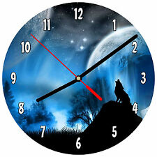 "8"" WALL CLOCK - Wolf 4 Howling at Moon Wolves Spiritual - Kitchen Bathroom Bar"