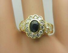 18K Yellow Gold Blue Sapphire and Diamond Ring