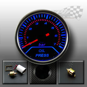"Oil pressure gauge 2"" 52mm smoked dial face interior dash custom lighting bulb"