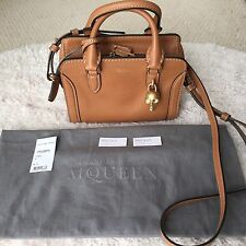 New Alexander McQueen Mini Padlock Leather Camel Satchel Shoulder Cross-body Bag