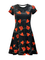 Women's Heart Rose Barbed Wire Collar Swing Rockabilly Dress Alternative Goth