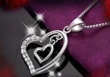 925 Sterling Silber Halskette Herz Anhänger mit Kette Herzkette Silberschmuck