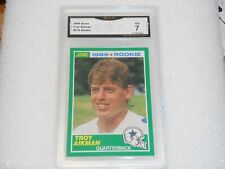 Troy Aikman GRADED ROOKIE CARD!! 1989 Score #270 Dallas Cowboys HOFer! 7%-1