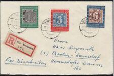 Bund 1949, MiNr. 113-115, gestempelt auf R-Brief.