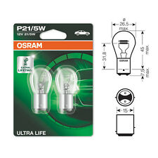 2 x Osram Ultra Life 380 P21/5W Brake Stop & Tail Light Bulbs 12v 21/5w BAY15D