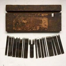 18 Vintage Stanley No 45 Plow Plane Cutters In Original Wooden Box Label