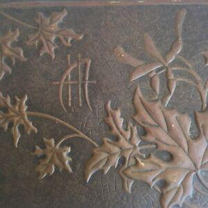 Boîte à bijoux bois et Laiton Feuillages Signée HM Art Nouveau era Alfred Daguet