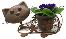 Metal Brown Bobbin Head Cat Planter Plant Pot Holder Indoor Garden Ornament Gift