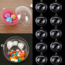 12pcs Clear Plastic Openable Balls DIY Candy Box Wedding Xmas Tree Decor 6/7/8cm