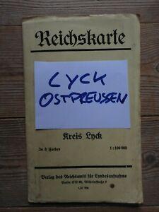 LYCK  Ostpreußen  Alte Original Landkarte ( 74x 64 cm)  Preis 1,20 RM