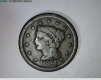 1854 Large Cent Braided Hair 1c old penny ( # 55s98 )