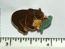 Vintage Brown Bear Pin, Grizzly Bear Fishing Enamel Pin, Lapel Pin, Tie Tack