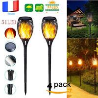 4pcs 51LED Feu Flamme Solaire Lumière Extérieur Jardin Paysage de Pelouse Lampe
