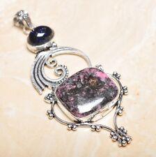 "Handmade Pink Rhodochrosite Gemstone 925 Sterling Silver Pendant 3.5"" #P15565"