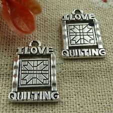 Free Ship 100 pieces tibetan silver love quilting charms 21x14mm #1928