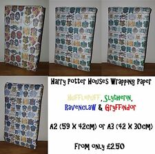 HARRY POTTER HOUSES Wrapping Paper - Gryffindor Slytherin Hufflepuff Ravenclaw.