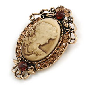 Vintage Inspired Amber/ Citrine Crystal Oval Beige Acrylic Cameo In Aged Gold