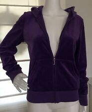 JUICY COUTURE Purple Velour Rhinestones Sweat Suit Pants SZ Medium Hoodie Large