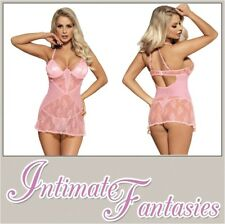 Sexy Pink Babydoll See Through Mesh Lace Size 10 12 14 16 18 20 22 24 Plus XL