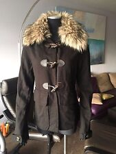 AUTH TWISTED HEART 100% COTTON STRETCH JACKET HOODIE WITH FAUX FUR COLLAR Sz L