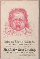 1800's BOSTON & WATERBURY CONN VICTORIAN TRADE CARD, FINE READY MADE CLOTHING