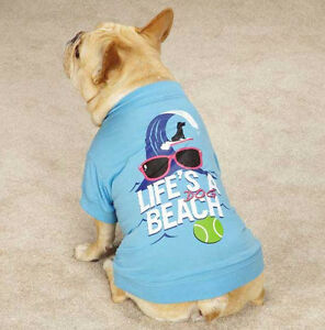 Life's a Beach Dog T-Shirt Tee Blue  Top Pet  Casual Canine XXS - XL