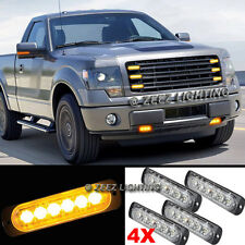 4X 6 LED Amber/Yellow Emergency Hazard Warning Strobe Beacon Caution Light Bar95
