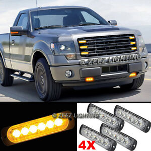 4X 6 LED Amber/Yellow Emergency Hazard Warning Strobe Beacon Caution Light Bar08