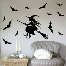Hot Halloween Witch Bat Decoration Wall Paper  Removable Sticker Decals Santa HU