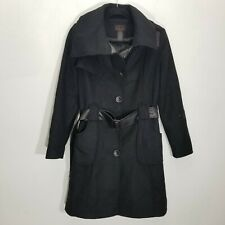 Via Womens Jacket Size 4 Belted Long Shawl Collar Wool Faux Leather Belt Button