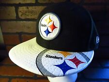 Pittsburgh STEELERS Black White Baseball Snapback Hat NEW Era Adult Cap