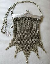 Antique Art Nouveau Deco Silver & Gold Floral Double Hinged Frame Mesh Purse
