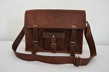 "14x10"" Vintage Brown Leather Satchel 13"" Macbook Laptop CrossBody Messenger Bag"