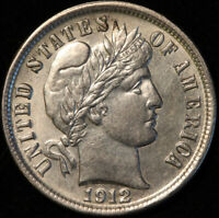 1912 S BARBER DIME, UNCIRCULATED, GREAT TYPE COIN, ORIGINAL, LOOKS GREAT!
