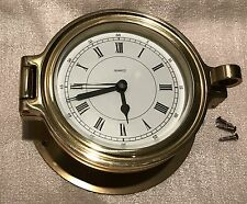 Vintage Solid Brass Maritime Nautical Wall Port Hole Quartz Clock Made in German