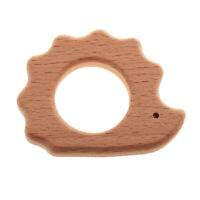 Natural Beech Wood Teether Ring Safety Teething Ring Baby DIY Toys Hedgehog