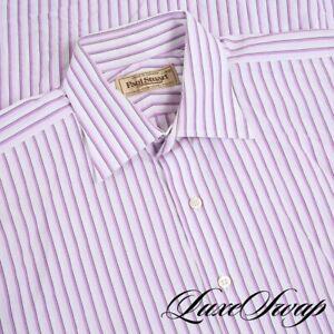 Paul Stuart White Radiant Purple Block Stripe Button Down Dress Shirt 16 - 35 NR