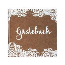 Gästebuch Kraft mit weißer Spitze Hochzeit Hochzeitsalbum Vintage Kraftpapier
