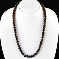 AAA 292.00 CTS EARTH MINED UNTREATED ROUND SHAPE SMOKY QUARTZ BEADS NECKLACE