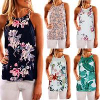 Womens Ladies Sleeveless Vest Tank Tops Summer Beach Floral Blouse Loose T Shirt