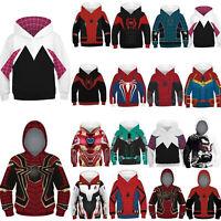 Kid Marvel Avengers Spiderman Superhero Hoodie Hood Print Pullover Sweatshirt a
