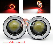 2pc Car Angel Eye COB Red Halo Ring LED DRL Projector Lens Fog Driving Light SUV