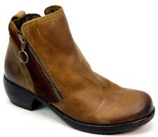 WOMENS FLY LONDON BROWN LEATHER SUEDE SMART ZIP UP BLOCK HEEL ANKLE BOOTS SIZE 4