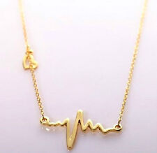 GOLD PLATED HEART BEAT ECG NECKLACE
